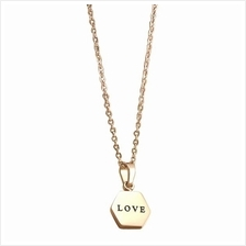 YOUNIQ Honeycomb Love 14K Rosegold Plated Titanium Necklace