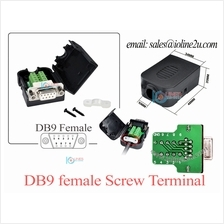 DB9 female Screw Nut Terminal w/ Case Set No soldering required DIY RS232 Gold