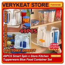 49PCS Smart Spin n Store Kitchen Tupperware Blue Food Container Set