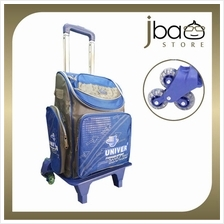 Univer 6 Wheels Trolley Kid School Bag Lightweight Primary Backpack (Blue)