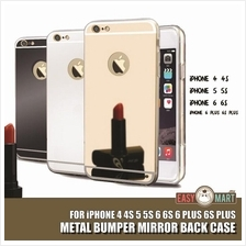 iPhone 4 4S 5 5S SE 6 6S Plus Mirror Metal Bumper Case Casing