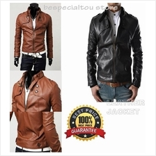 New Leather Stylish Men Jacket British Stylish Men´s Multi-Pocket