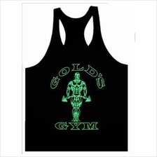 Gold Gym Black Highlight Green Singlet (Baju Fitness Sport)  RM37