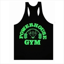 Power Gym Black Highlight Green Singlet (Baju Fitness Sport) gym