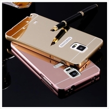 Samsung Note 2 3 5 J5 J7 A8 Mirror Metal Bumper Case Tempered Casing