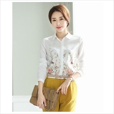 JF T19603 Fashion Floral Printed Chiffon OL Shirts