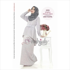 Emboss Peplum Dress CASUAL (EPD) by Nuhijab jubah GREY PASTEL COLOR XL