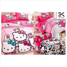 FREE BLANKET!! New Hello Kitty Fitted Bed Sheet Set (HKB0019)