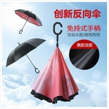 High Quality C Handle Upside Down Folding Stand Umbrella Double Layer