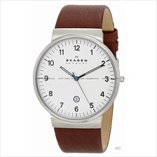 SKAGEN SKW6082 Men's Ancher Classic Date Leather Strap White Brown