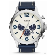 FOSSIL JR1480 Men's Nate Chronograph Oversized Leather Strap Navy