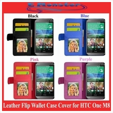 Leather Flip Wallet Case Cover for HTC One M8