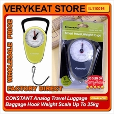 CONSTANT Analog Travel Luggage Baggage Hook Weight Scale Up To 35kg