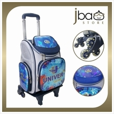 Univer 6 Wheels Trolley Kid School Bag Hard Case Primary Backpack (Blue)
