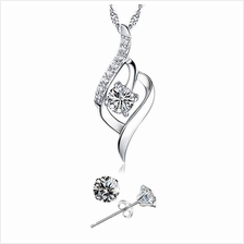 YOUNIQ Weave 925S Silver Necklace with CZ & Earrings Set- 2 color