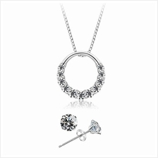 YOUNIQ D''Lord 925S Silver Necklace Pendant with CZ & Earring Set