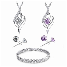 YOUNIQ Weave 925S Silver Necklace with CZ & Bracelet Set- 2 color