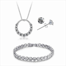 YOUNIQ D''Lord 925 Silver Necklace with CZ, Earring & Bracelet Set