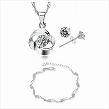 YOUNIQ Hana 925S Silver Necklace with CZ, Earring & Bracelet Set