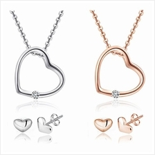 YOUNIQ Simple Love 925S Silver Necklace with CZ & Earring Set- 2 color