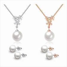 YOUNIQ Pearl Drop 925S Silver Necklace Pendant & Earrings Set- 2 color