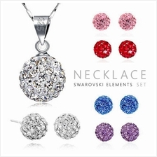 YOUNIQ Korean 925S Silver Swarovski Elements Necklace Set- 5 color