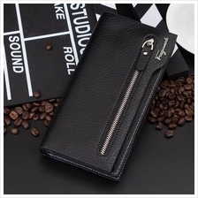 zipper wallet embossed leather clutch bag