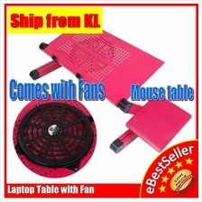 Multifunction 360° Rotation Foldable Laptop Table With Strong Big Fan
