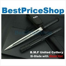 B.M.F United Bi-Blade Blood Slot Self Defence Camping Stick Knife Safe