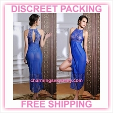 Sexy Lingerie Blue Lace See-Through Long Dress + G-String Sleepwear