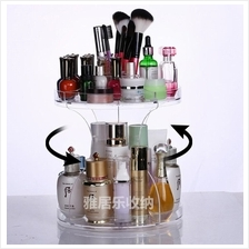 2 Level Rotating Acrylic Storage Rack Skincare Cosmetic Organizer