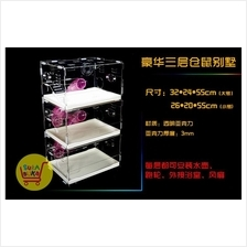 3-Level Acrylic Hamster Cage with Accessories (S/L)