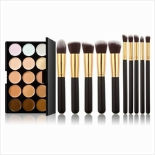 15 Colors Concealer Camouflage Makeup Palette  & 10pcs Makeup Brush Kit fo