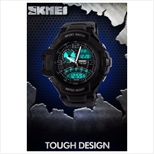 SKMEI 1017 Men's Dual Time Date Display LED Sports Watch (Blac