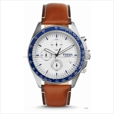 FOSSIL CH3029 Men's Sport 54 Chronograph Leather Strap White Brown
