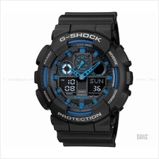 CASIO GA-100-1A2 G-SHOCK Bold Face Tough Body resin strap black blue