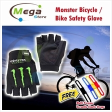 Monster Half Finger Cycling Safety Glove Bicycle Bike Sport Outdoor