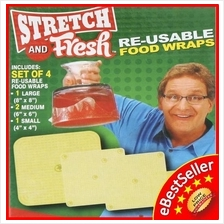 Stretch & Fresh Reusable Silicone Food Left over Tins Wrap Wrapping