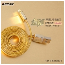 REMAX GOLD Reversible Micro USB Apple Lightning Data Charging Cable 1m