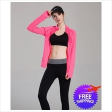 Women Lady Long Sleeve Gym Jogging Yoga Sports Jacket Sweatshirt
