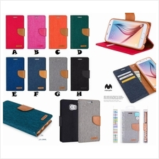 Samsung A8 E7 J7 MERCURY CANVAS Jeans Fancy Diary Case Cover *FREE