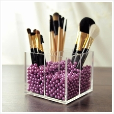 4 Grids Acrylic Makeup Brushes Holder Tools Storage Box with Pearls