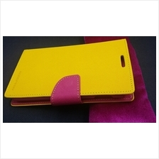Mercury Samsung Galaxy Note Leather Flip Case Cover Casing(Yellow+Pink)