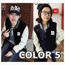 Korean Stand-up Collar Unisex Baseball Varsity Jacket - Design R