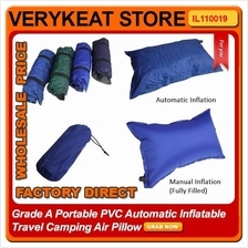 Grade A Portable PVC Automatic Inflatable Travel Camping Air Pillow