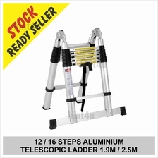 12 / 16 STEPS ALUMINIUM  TELESCOPIC LADDER 1.9M / 2.5M