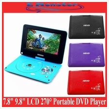 7.8' 9.8' Inch LCD 270° Degree Swivel Portable TV/DVD/RMVB Player