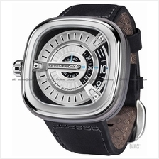 SEVENFRIDAY M1-1 Automatic Rotating Disc Leather Strap Silver Black