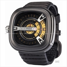 SEVENFRIDAY M2-1 Automatic Rotating Disc Leather Strap Black Yellow