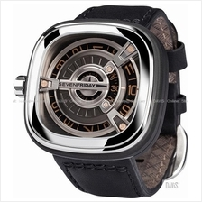 SEVENFRIDAY M1-3 Automatic Rotating Disc Leather Strap Black Gold